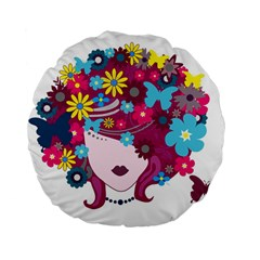Beautiful Gothic Woman With Flowers And Butterflies Hair Clipart Standard 15  Premium Flano Round Cushions