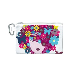 Beautiful Gothic Woman With Flowers And Butterflies Hair Clipart Canvas Cosmetic Bag (S)