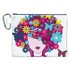 Beautiful Gothic Woman With Flowers And Butterflies Hair Clipart Canvas Cosmetic Bag (XXL)