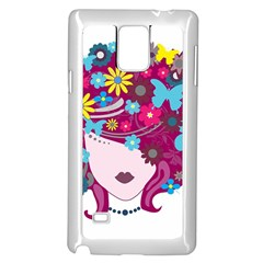 Beautiful Gothic Woman With Flowers And Butterflies Hair Clipart Samsung Galaxy Note 4 Case (White)