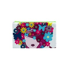Beautiful Gothic Woman With Flowers And Butterflies Hair Clipart Cosmetic Bag (xs)