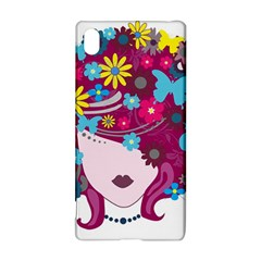 Beautiful Gothic Woman With Flowers And Butterflies Hair Clipart Sony Xperia Z3+