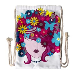 Beautiful Gothic Woman With Flowers And Butterflies Hair Clipart Drawstring Bag (Large)