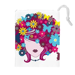 Beautiful Gothic Woman With Flowers And Butterflies Hair Clipart Drawstring Pouches (Extra Large)