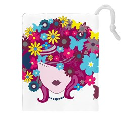 Beautiful Gothic Woman With Flowers And Butterflies Hair Clipart Drawstring Pouches (XXL)