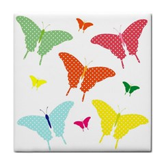 Beautiful Colorful Polka Dot Butterflies Clipart Tile Coasters