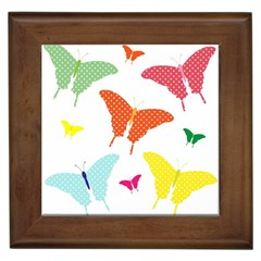 Beautiful Colorful Polka Dot Butterflies Clipart Framed Tiles