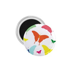 Beautiful Colorful Polka Dot Butterflies Clipart 1.75  Magnets