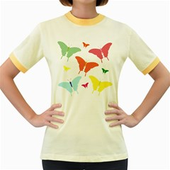 Beautiful Colorful Polka Dot Butterflies Clipart Women s Fitted Ringer T Shirts