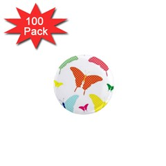 Beautiful Colorful Polka Dot Butterflies Clipart 1  Mini Magnets (100 Pack)