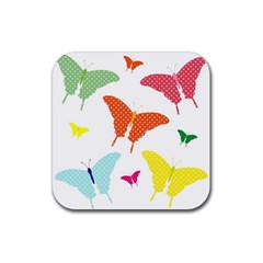 Beautiful Colorful Polka Dot Butterflies Clipart Rubber Coaster (square)