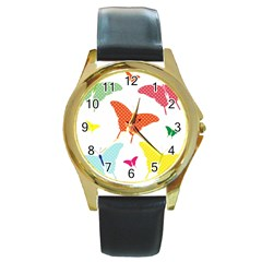 Beautiful Colorful Polka Dot Butterflies Clipart Round Gold Metal Watch