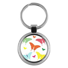 Beautiful Colorful Polka Dot Butterflies Clipart Key Chains (Round)