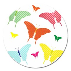 Beautiful Colorful Polka Dot Butterflies Clipart Magnet 5  (round)