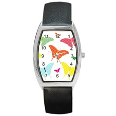 Beautiful Colorful Polka Dot Butterflies Clipart Barrel Style Metal Watch