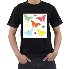 Beautiful Colorful Polka Dot Butterflies Clipart Men s T-Shirt (Black) (Two Sided)
