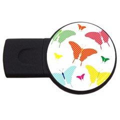 Beautiful Colorful Polka Dot Butterflies Clipart USB Flash Drive Round (4 GB)