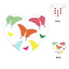 Beautiful Colorful Polka Dot Butterflies Clipart Playing Cards (Heart)