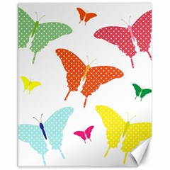 Beautiful Colorful Polka Dot Butterflies Clipart Canvas 16  x 20