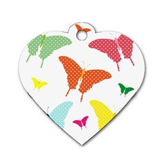Beautiful Colorful Polka Dot Butterflies Clipart Dog Tag Heart (two Sides)