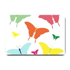 Beautiful Colorful Polka Dot Butterflies Clipart Small Doormat