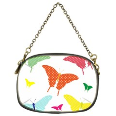 Beautiful Colorful Polka Dot Butterflies Clipart Chain Purses (one Side)