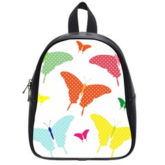 Beautiful Colorful Polka Dot Butterflies Clipart School Bags (Small)