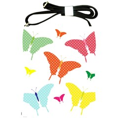Beautiful Colorful Polka Dot Butterflies Clipart Shoulder Sling Bags