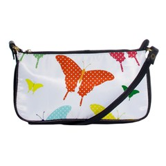 Beautiful Colorful Polka Dot Butterflies Clipart Shoulder Clutch Bags