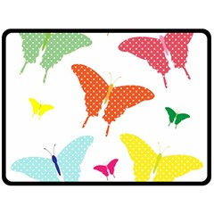 Beautiful Colorful Polka Dot Butterflies Clipart Fleece Blanket (Large)