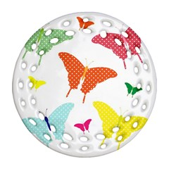 Beautiful Colorful Polka Dot Butterflies Clipart Ornament (Round Filigree)