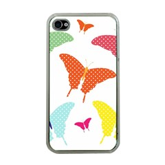 Beautiful Colorful Polka Dot Butterflies Clipart Apple iPhone 4 Case (Clear)