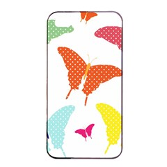 Beautiful Colorful Polka Dot Butterflies Clipart Apple iPhone 4/4s Seamless Case (Black)