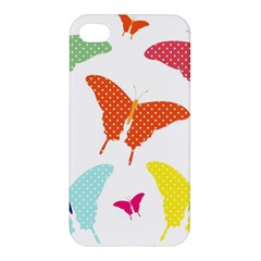 Beautiful Colorful Polka Dot Butterflies Clipart Apple iPhone 4/4S Hardshell Case