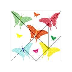 Beautiful Colorful Polka Dot Butterflies Clipart Acrylic Tangram Puzzle (4  X 4 )