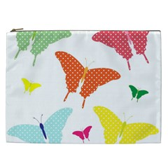 Beautiful Colorful Polka Dot Butterflies Clipart Cosmetic Bag (xxl)