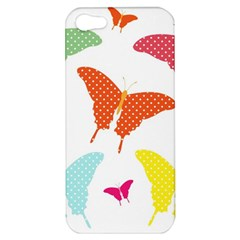 Beautiful Colorful Polka Dot Butterflies Clipart Apple Iphone 5 Hardshell Case