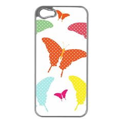 Beautiful Colorful Polka Dot Butterflies Clipart Apple iPhone 5 Case (Silver)