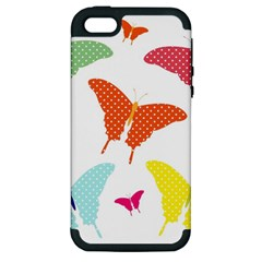 Beautiful Colorful Polka Dot Butterflies Clipart Apple Iphone 5 Hardshell Case (pc+silicone)
