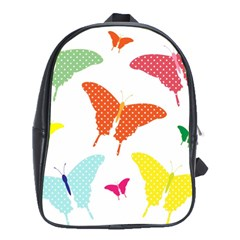 Beautiful Colorful Polka Dot Butterflies Clipart School Bags (xl)