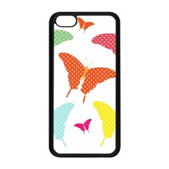Beautiful Colorful Polka Dot Butterflies Clipart Apple iPhone 5C Seamless Case (Black)