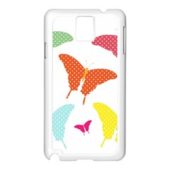 Beautiful Colorful Polka Dot Butterflies Clipart Samsung Galaxy Note 3 N9005 Case (white)