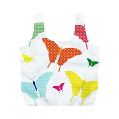 Beautiful Colorful Polka Dot Butterflies Clipart Full Print Recycle Bags (m)