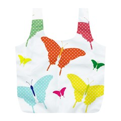 Beautiful Colorful Polka Dot Butterflies Clipart Full Print Recycle Bags (L)