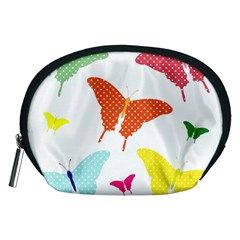 Beautiful Colorful Polka Dot Butterflies Clipart Accessory Pouches (medium)
