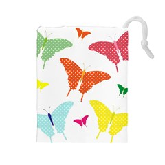 Beautiful Colorful Polka Dot Butterflies Clipart Drawstring Pouches (large)