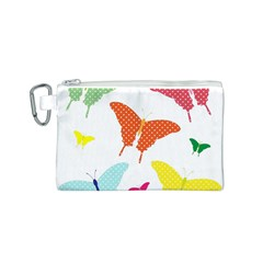Beautiful Colorful Polka Dot Butterflies Clipart Canvas Cosmetic Bag (s)