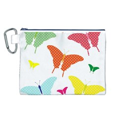Beautiful Colorful Polka Dot Butterflies Clipart Canvas Cosmetic Bag (L)