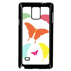 Beautiful Colorful Polka Dot Butterflies Clipart Samsung Galaxy Note 4 Case (black)