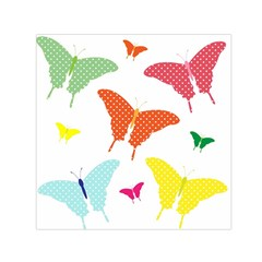 Beautiful Colorful Polka Dot Butterflies Clipart Small Satin Scarf (square)